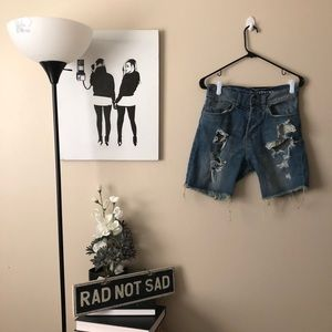 H&M Divided cutoff holey distressed jean shorts